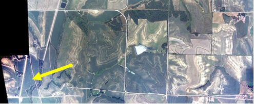 Rolling terrain imagery compared to ESRI/BING imagery in the same location. Yellow arrow shows a road offset at the edge of a stitch.